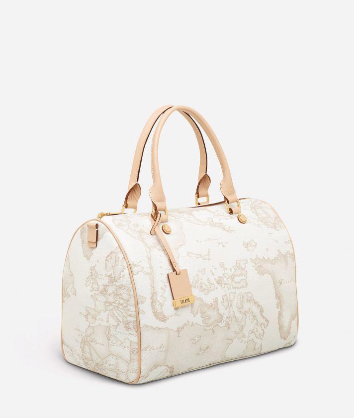 Geo White Large Boston bag